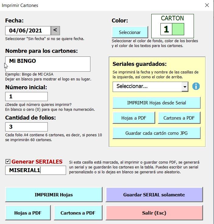 Bingo 90 En Excel Vicente Leon